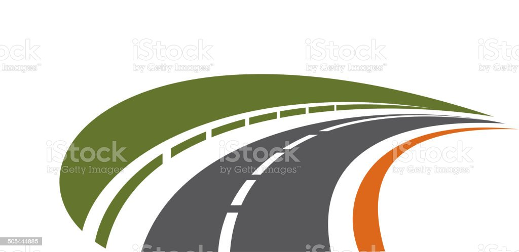 Curving tarred road receding into the distance vector art illustration
