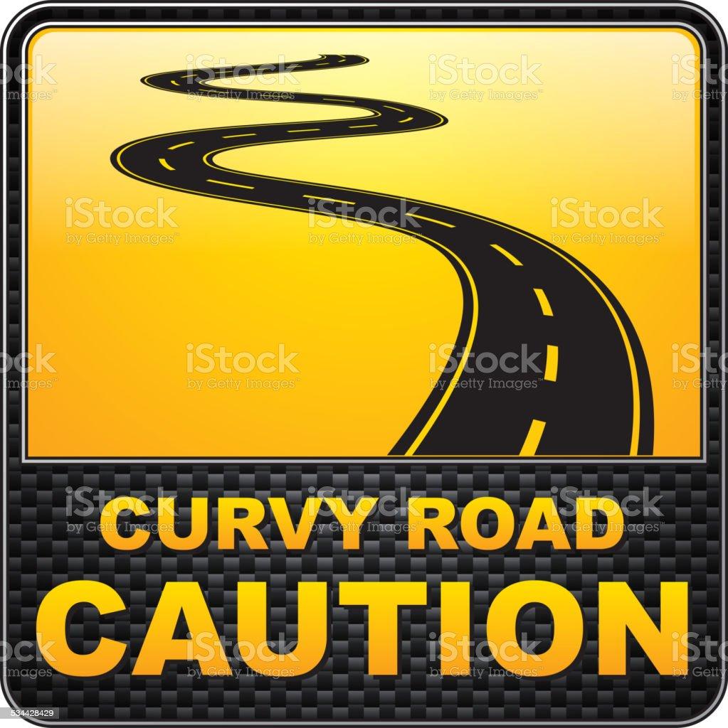 Curvy road warning sign vector art illustration