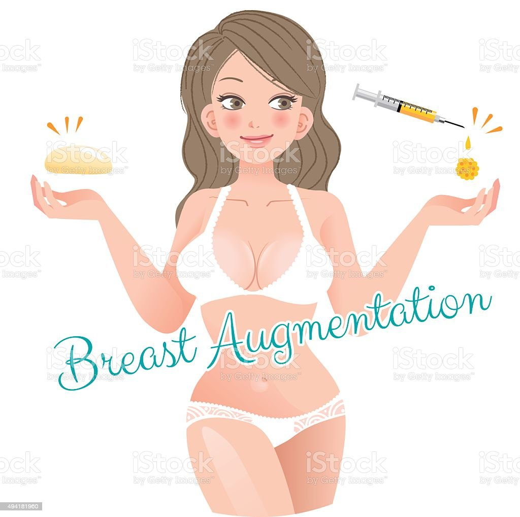 Curvy Woman Breast Augmentation Concept vector art illustration