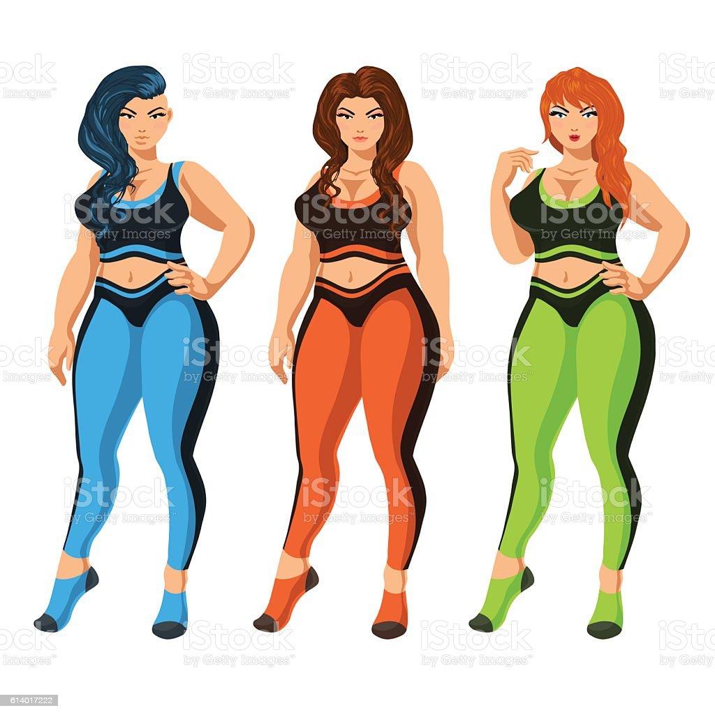 Curvy women in sportswear. vector art illustration