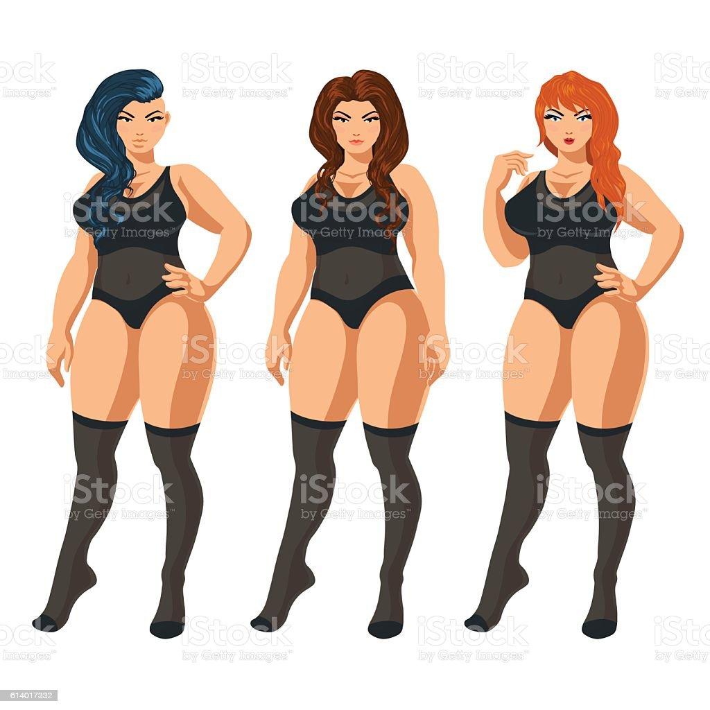 Curvy women in underwear. vector art illustration