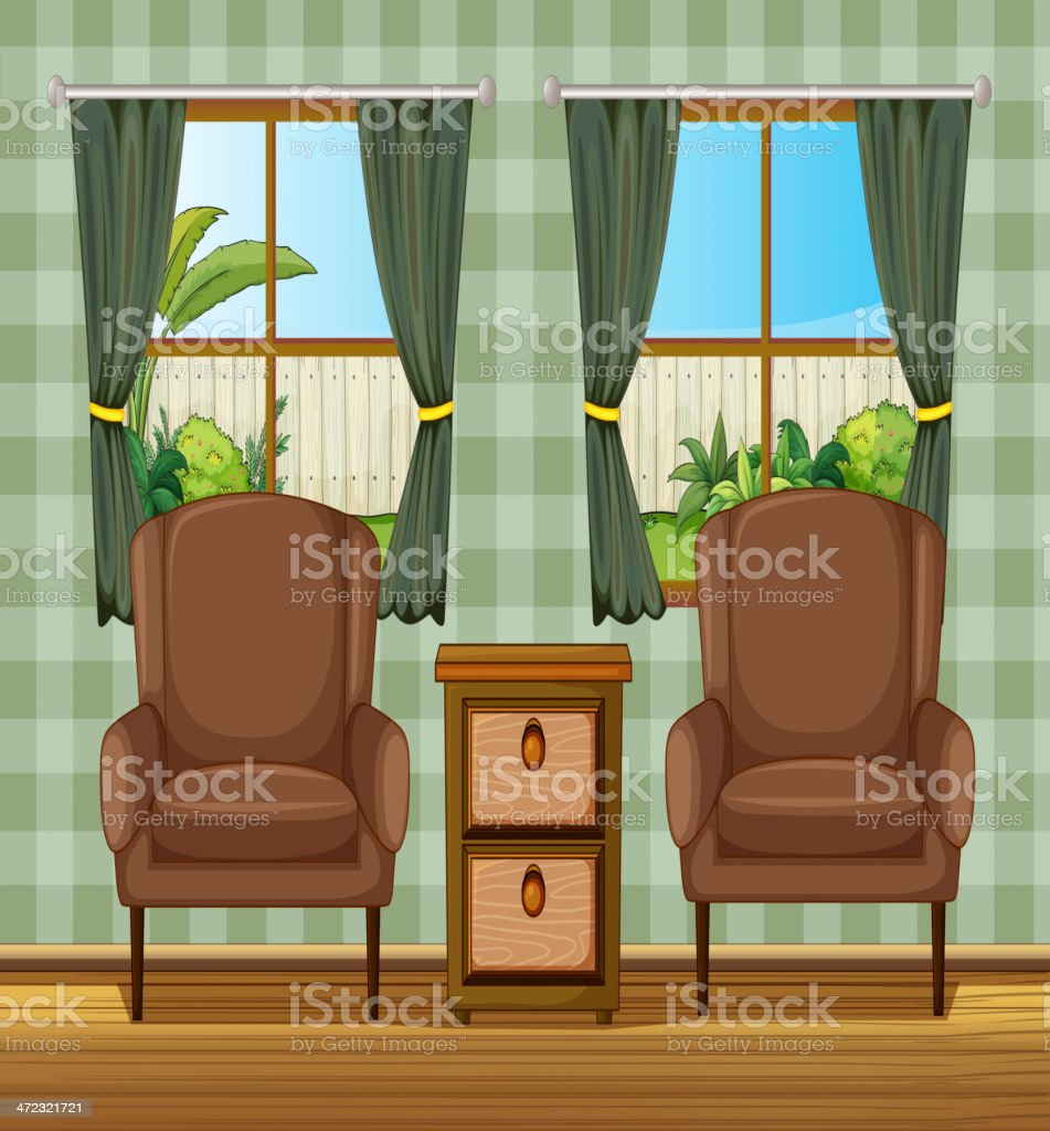 Cushion chairs and side table royalty-free stock vector art