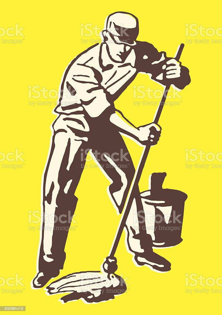 Custodian with Mop and Pail vector art illustration