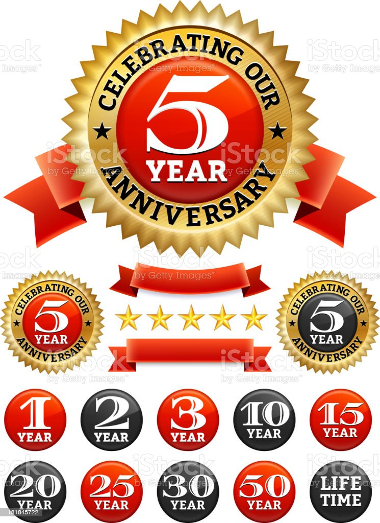 Custom Anniversary Badges Red and Gold Collection vector art illustration