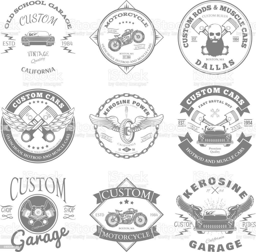 Custom Garage Label and Badges Design. Vector vector art illustration