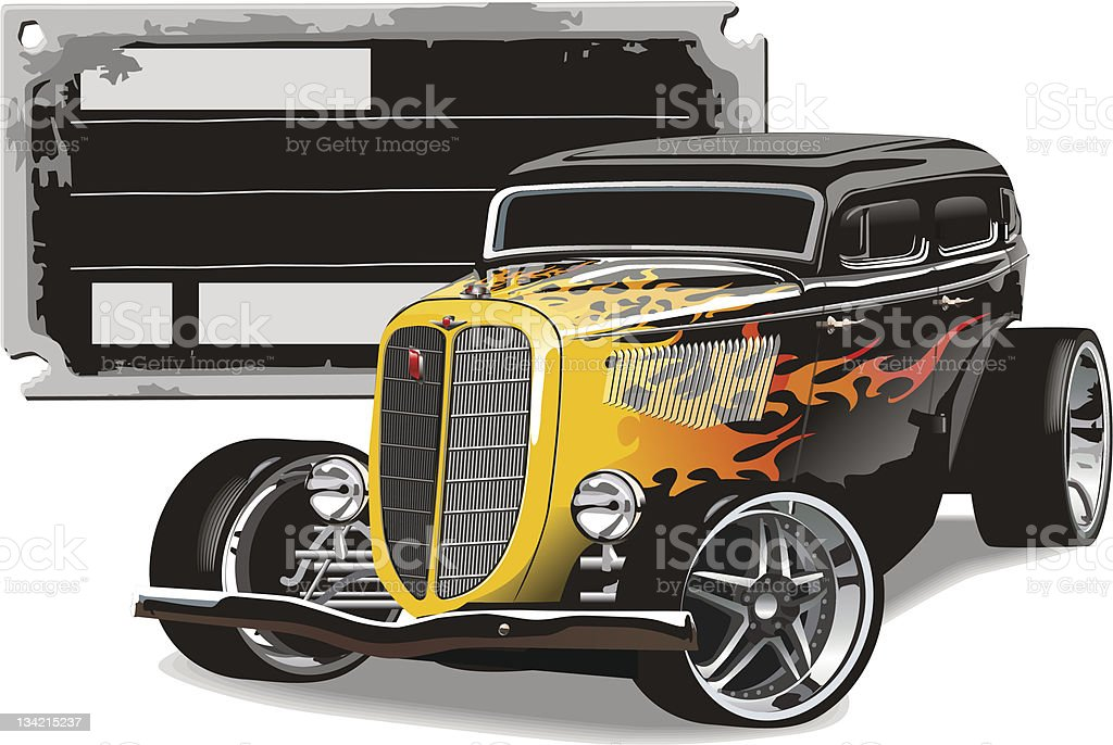 Custom Hotrod vector art illustration