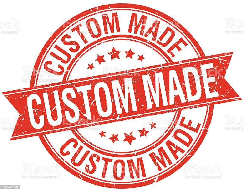 custom made grunge retro red isolated ribbon stamp vector art illustration