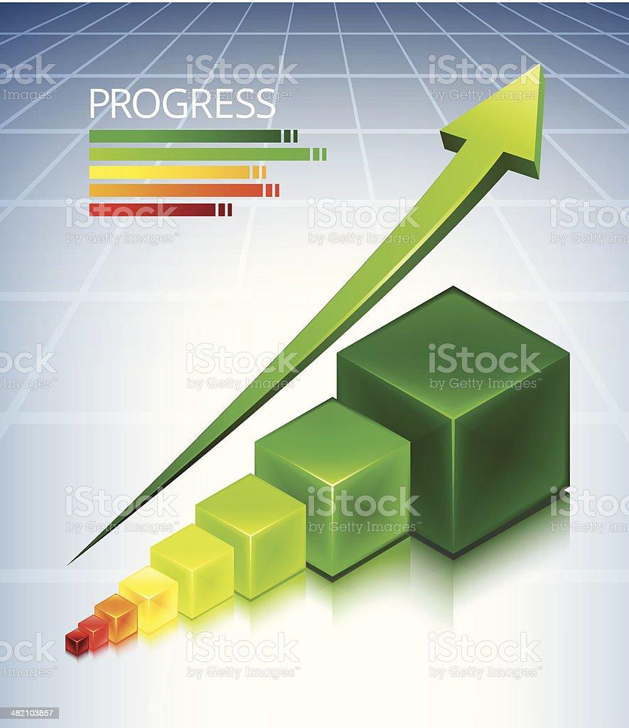 Custom Progress Cubes Business Concept royalty-free stock vector art