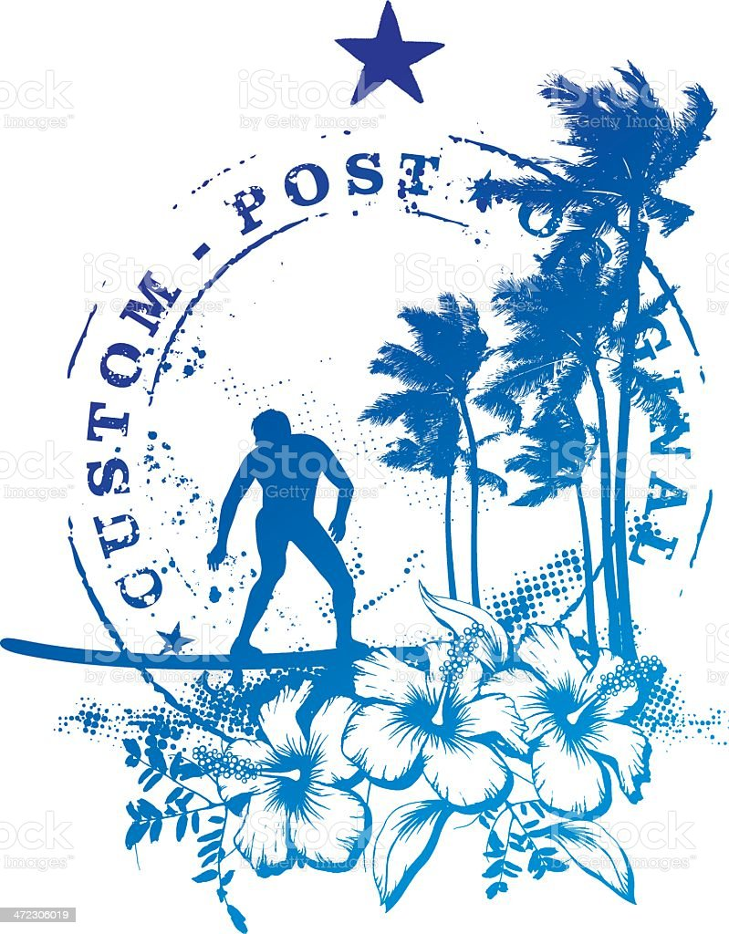 custom surf post with rider vector art illustration