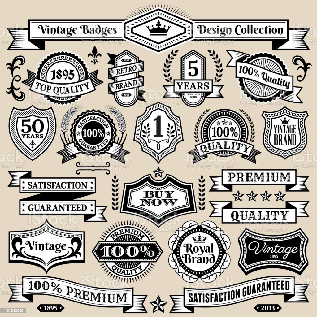 Custom Vintage Quality Black & White Banners, Badges, and Symbols royalty-free stock vector art