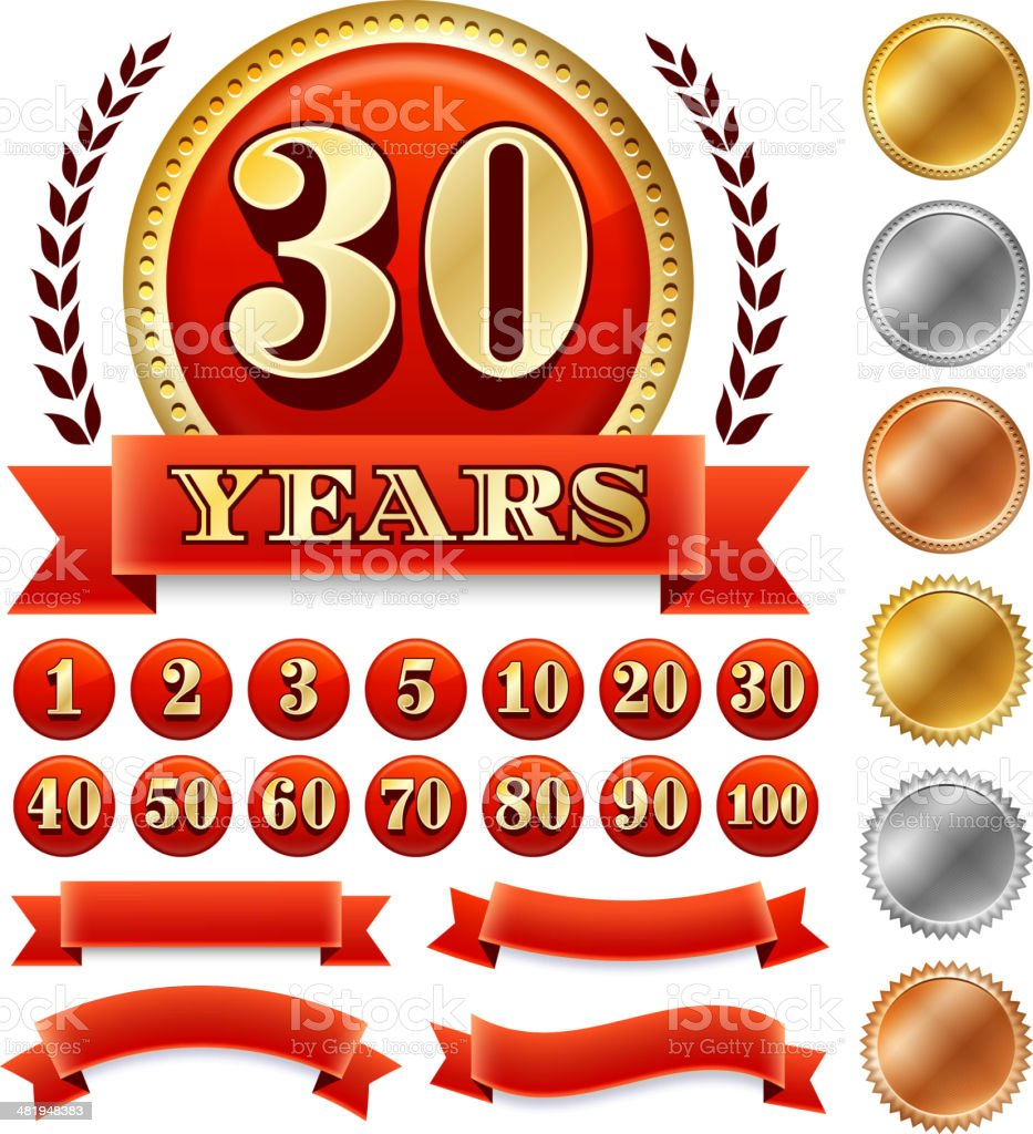 Custome Anniversary Badges vector art illustration