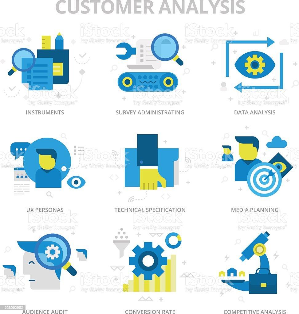 Customer Analysis Flat Icons vector art illustration