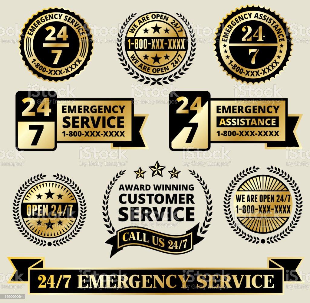 Customer Assistance 24/7 Call Center Badges Black and Gold Set vector art illustration