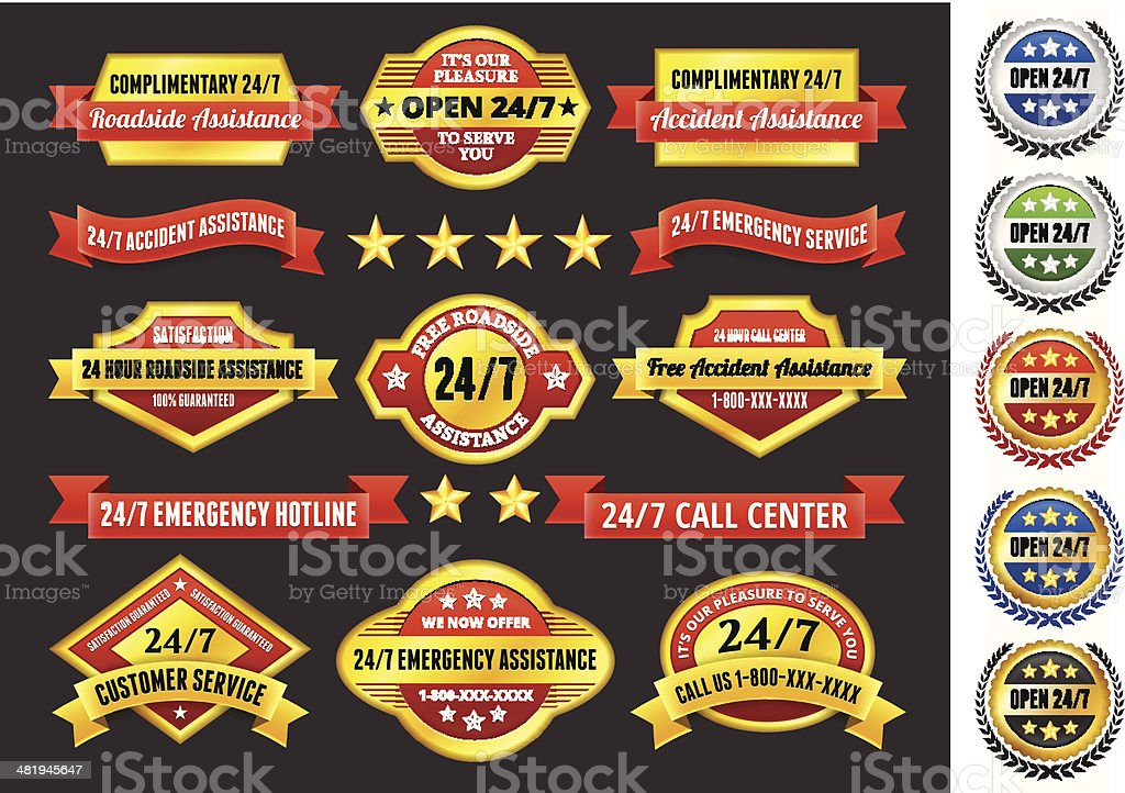 Customer Assistance 24/7 Call Center Badges Red and Gold Set royalty-free stock vector art