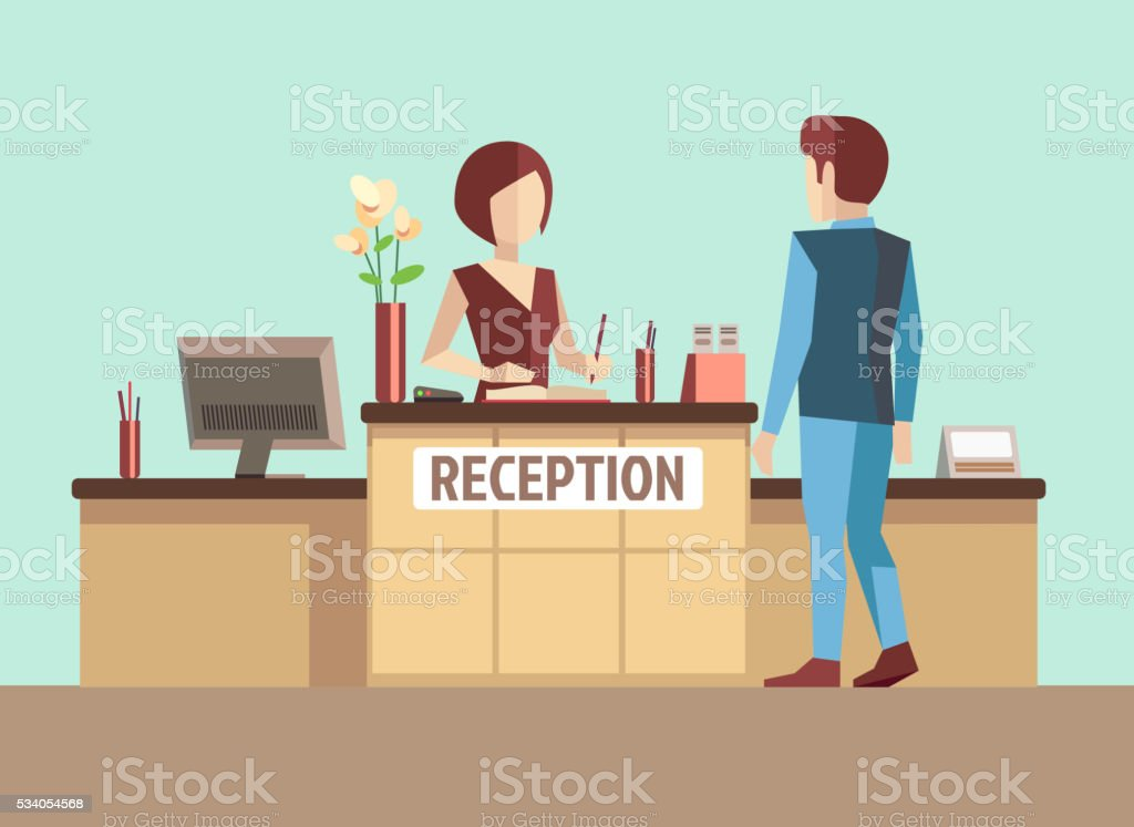 Customer at reception. Vector concept in flat style vector art illustration