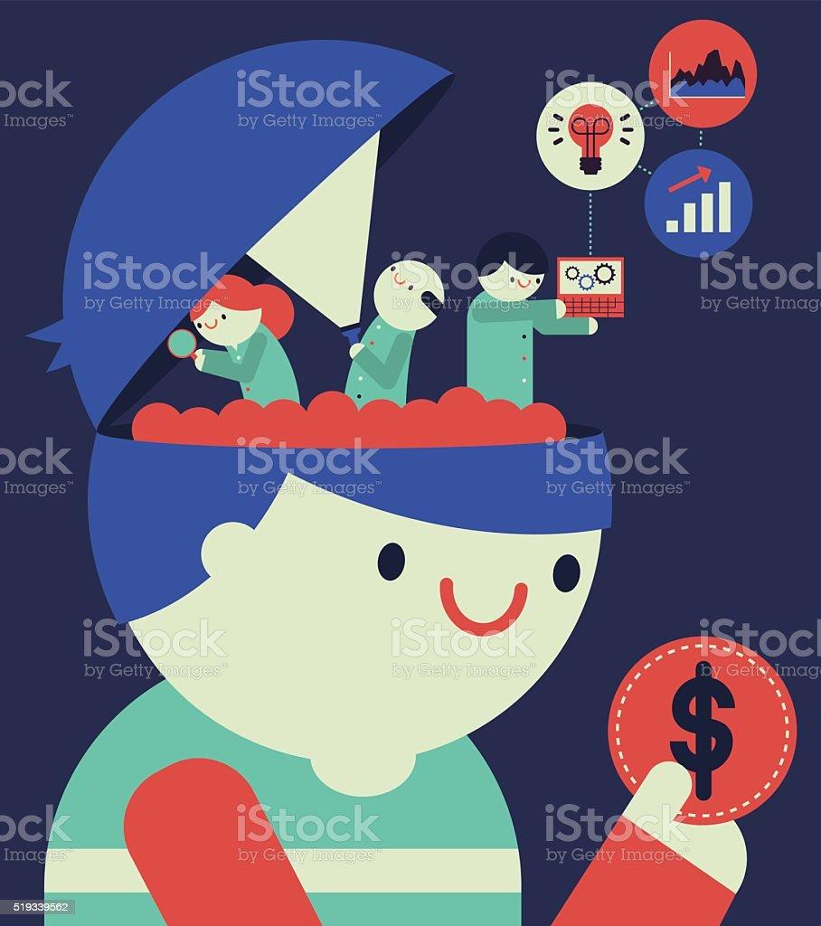 Customer Behaviour Research vector art illustration