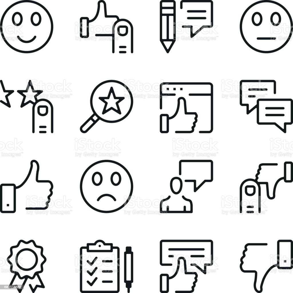 Customer feedback and testimonials line icons set. Modern graphic design concepts, simple outline elements collection. Vector line icons vector art illustration