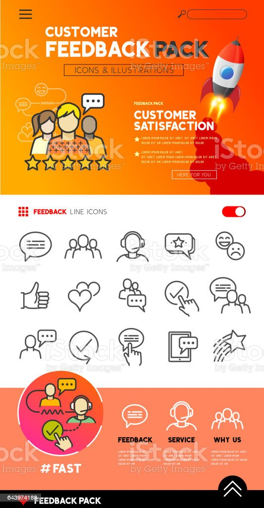 Customer Feedback icons and Design vector art illustration