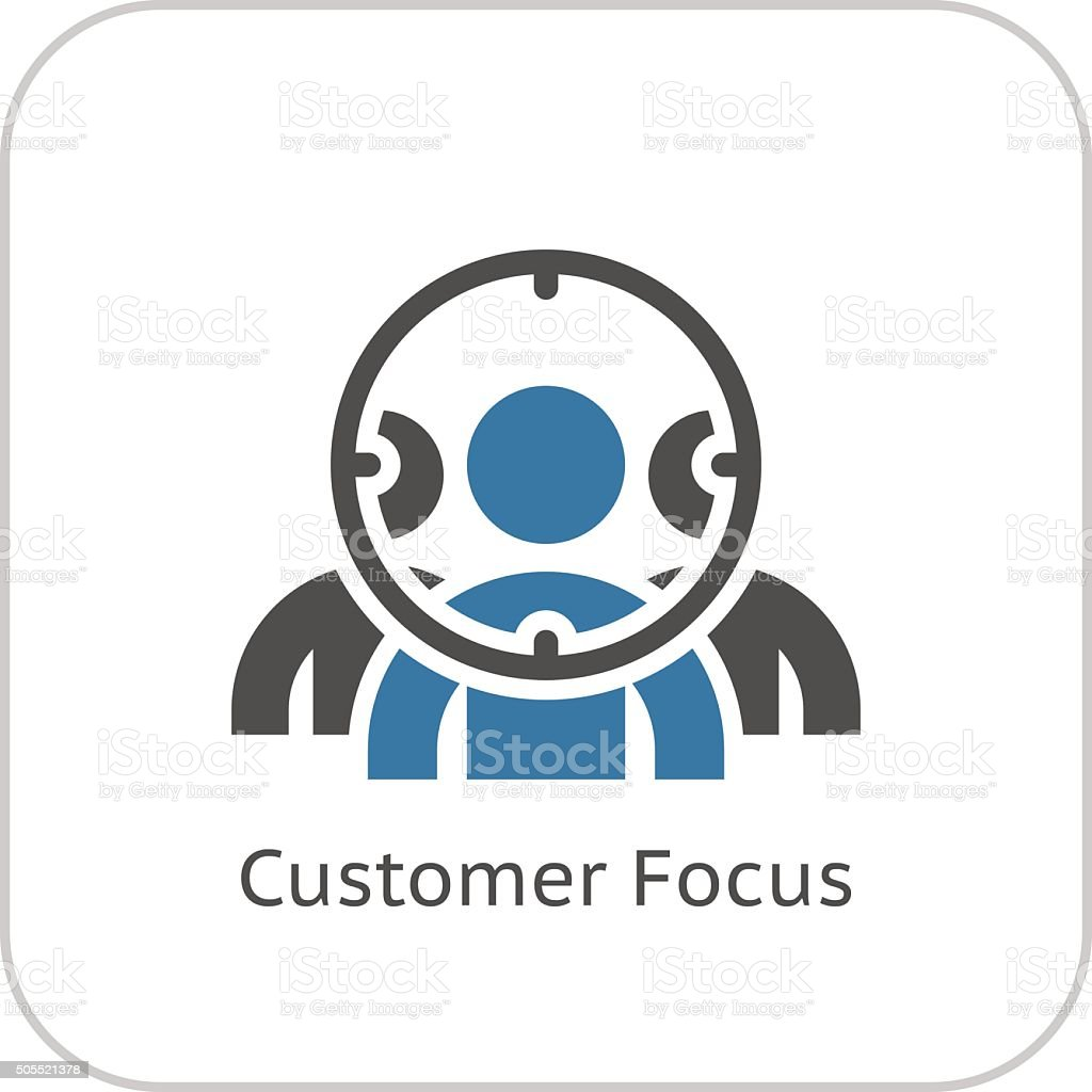 Customer Focus Icon. Flat Design. vector art illustration