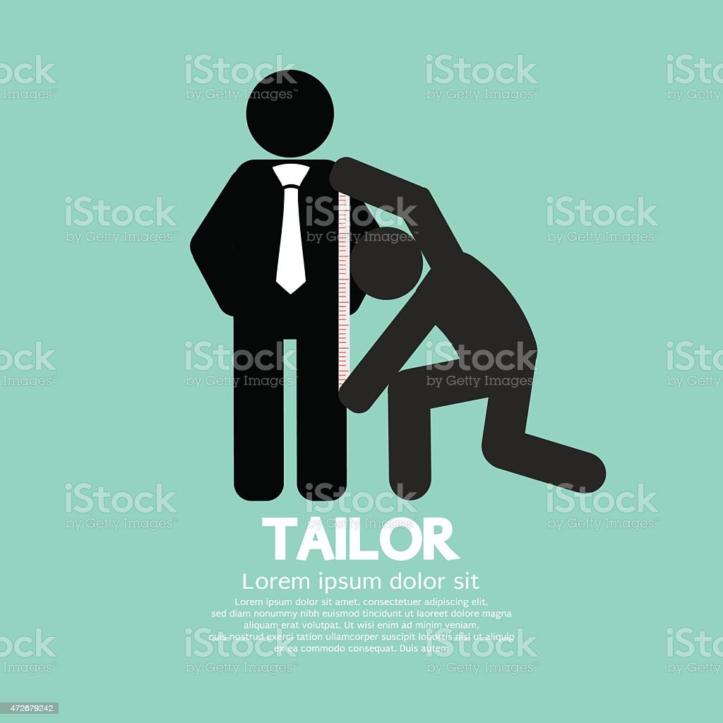 Customer Getting Measure By Tailor Symbol vector art illustration