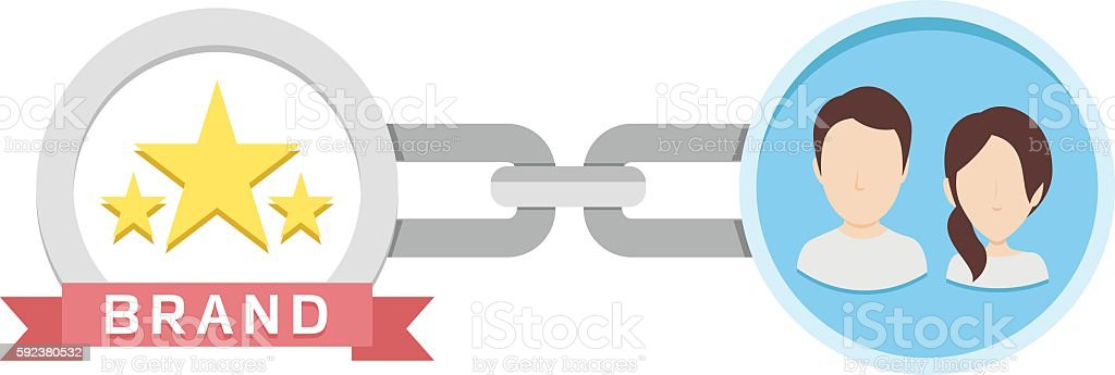 Customer Loyalty to Brand vector art illustration