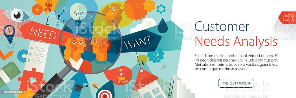Customer Needs Analysis Banner vector art illustration