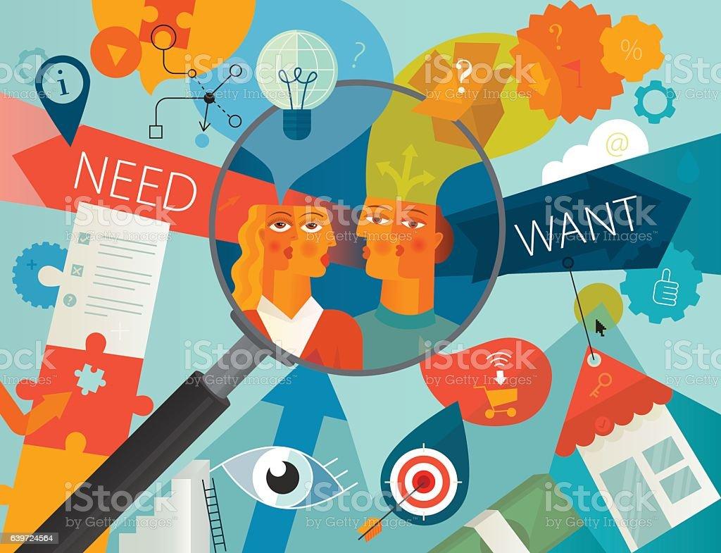 Customer Needs Analysis vector art illustration