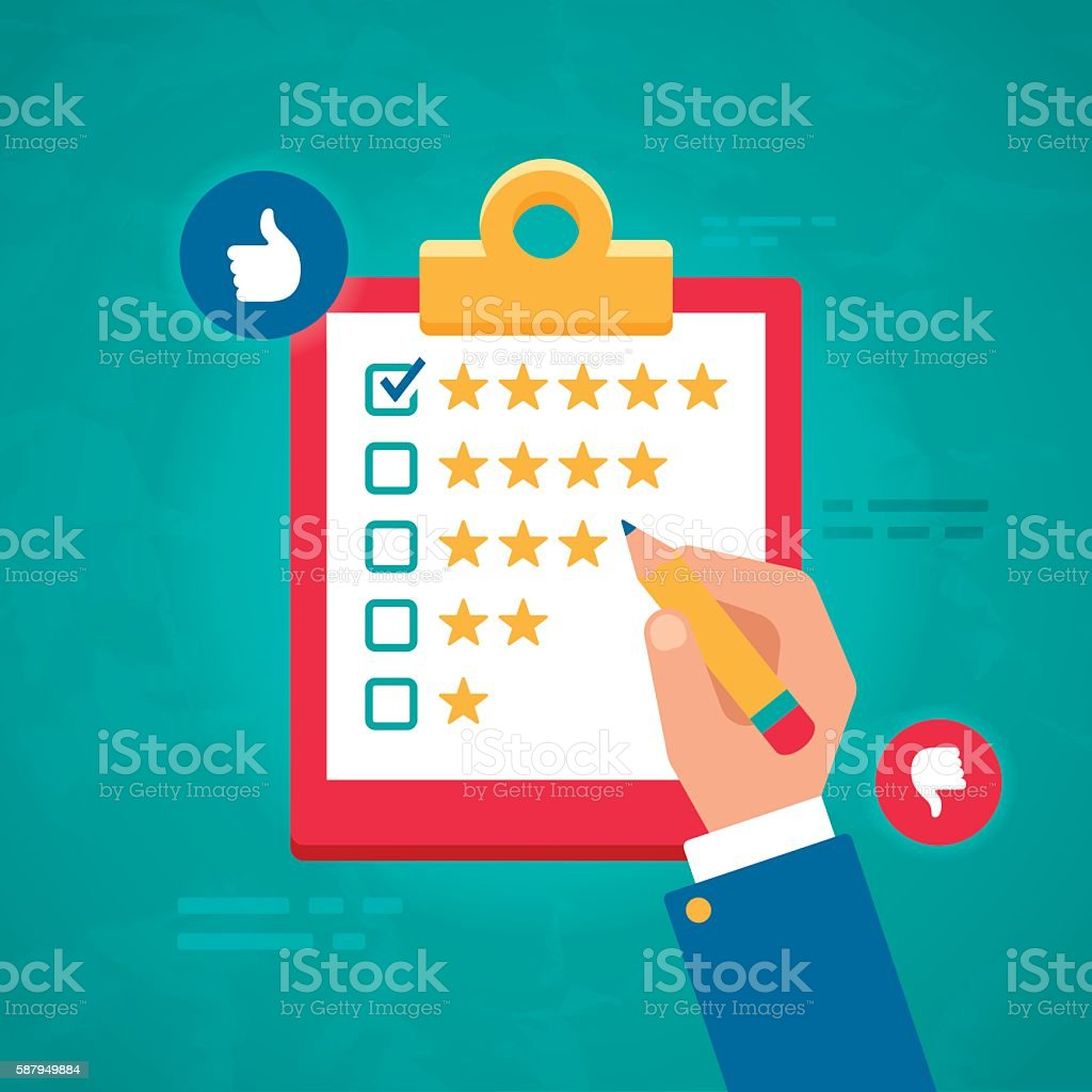 Customer Ratings and Survey Reviews vector art illustration