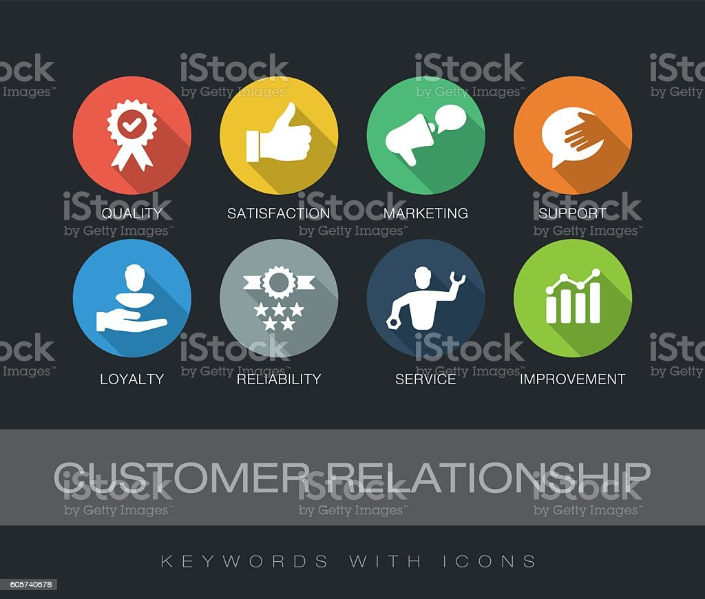Customer Relationship keywords with icons vector art illustration