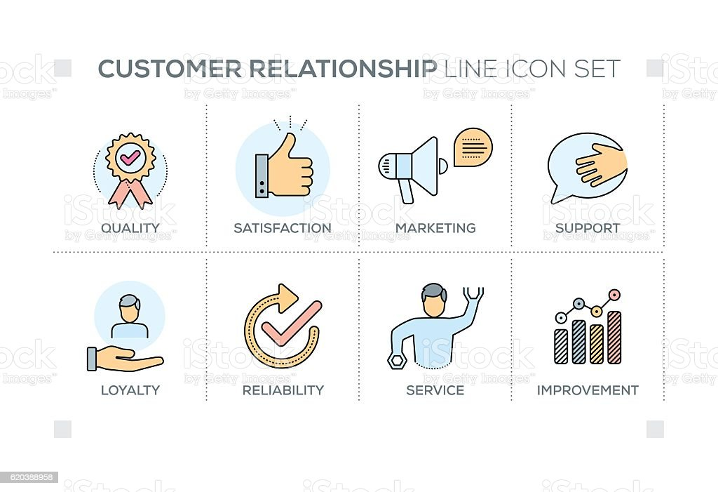 Customer Relationship keywords with line icons vector art illustration