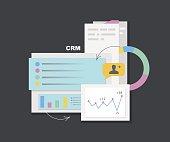 Customer relationship management. CRM. Flat vector illustration
