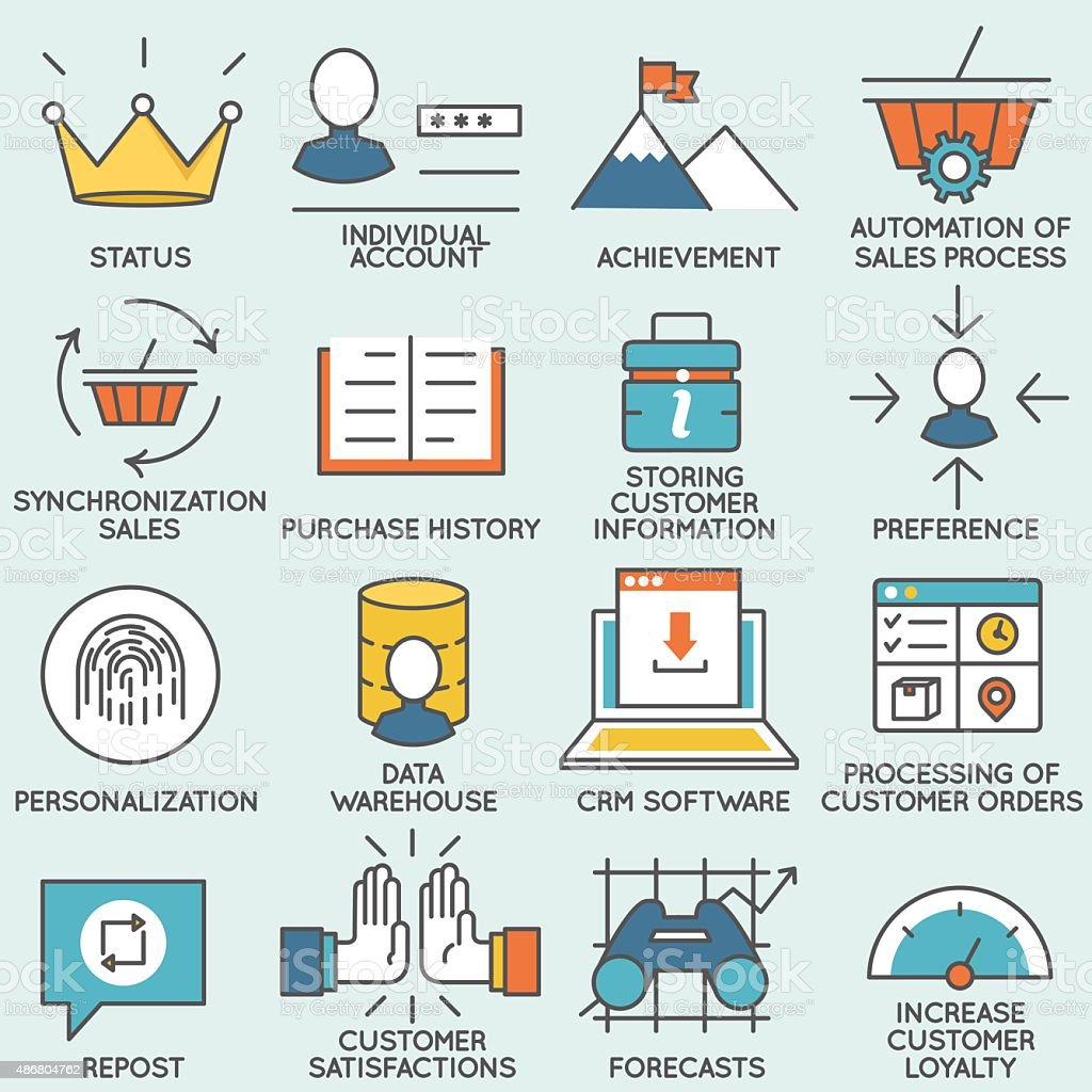 Customer relationship management icons - part 1 vector art illustration