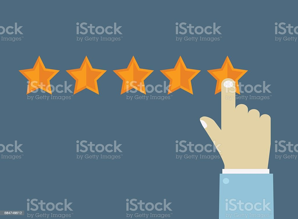Customer review concept. Hand choosing rating stars. vector art illustration