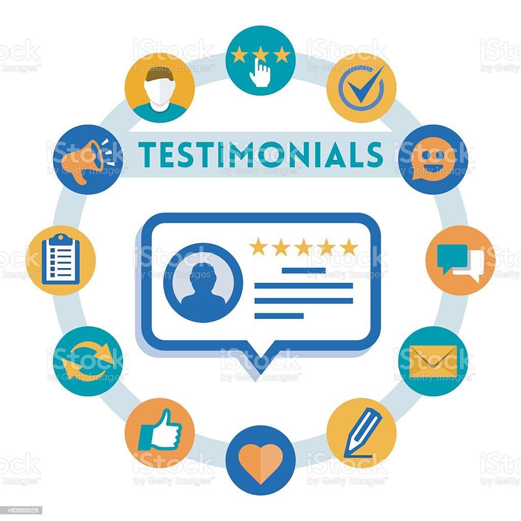 Customer service and testimonials vector infographic, flat style vector art illustration