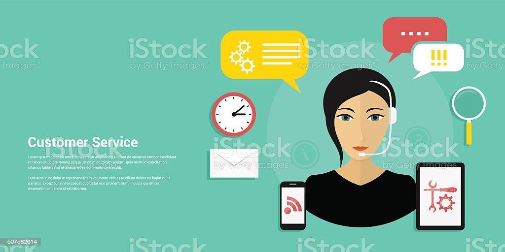 customer service banner vector art illustration