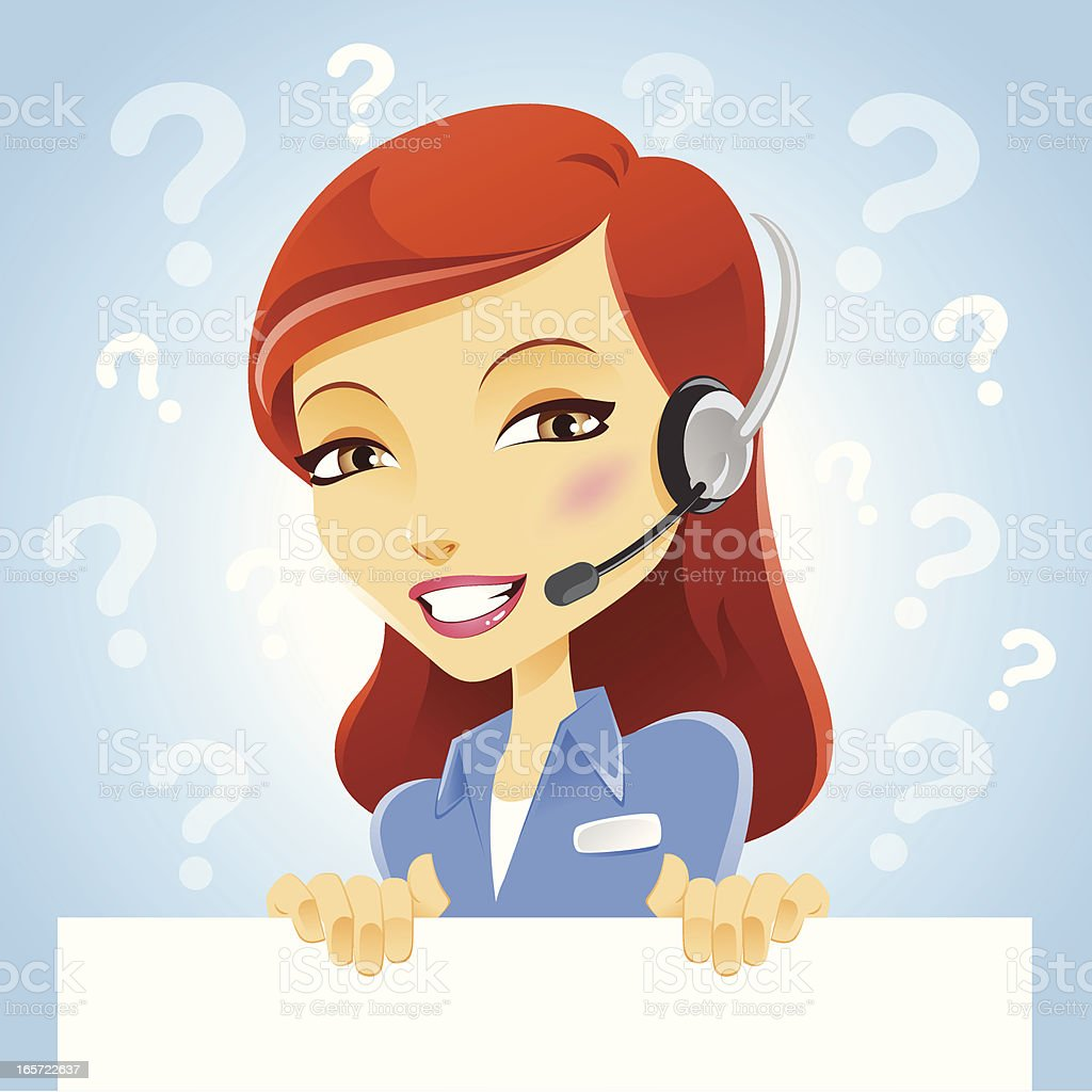 Customer Service Girl with Blank Sign Card royalty-free stock vector art