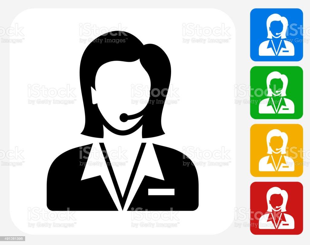 Customer Service Icon Flat Graphic Design vector art illustration
