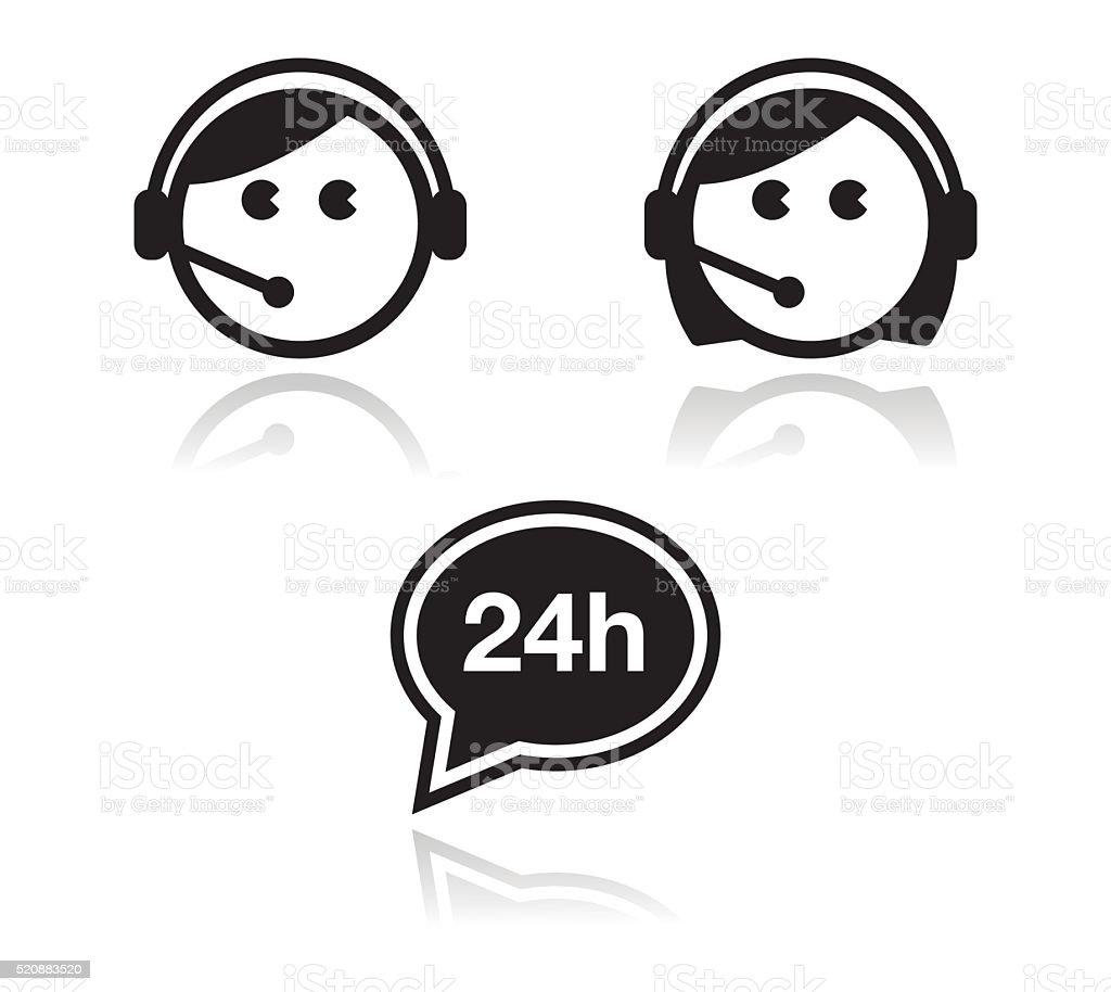 Customer service icons set - call center agents vector art illustration