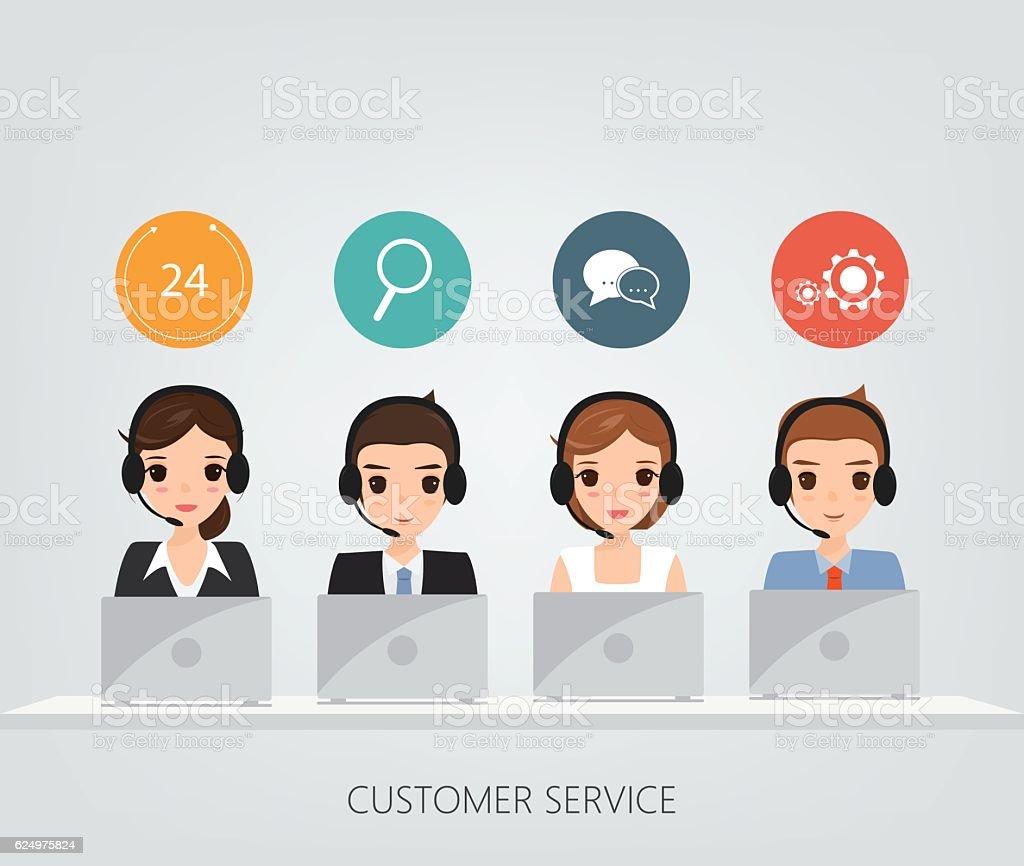 Customer service people. Call center team. vector art illustration