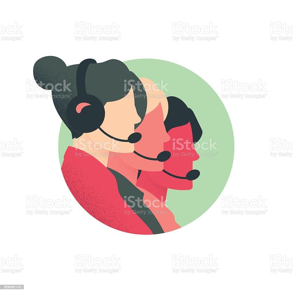 Customer Service Phone Bank vector art illustration