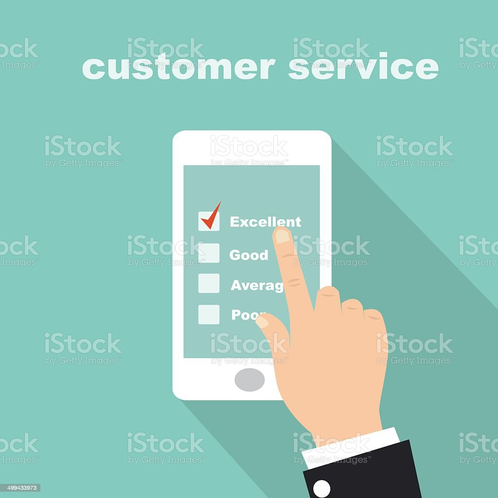 customer service survey on screen mobile vector art illustration