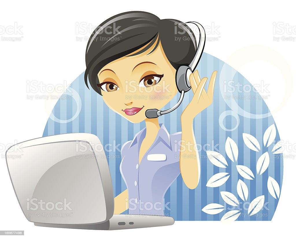 Customer Service Woman with Headset and Laptop royalty-free stock vector art