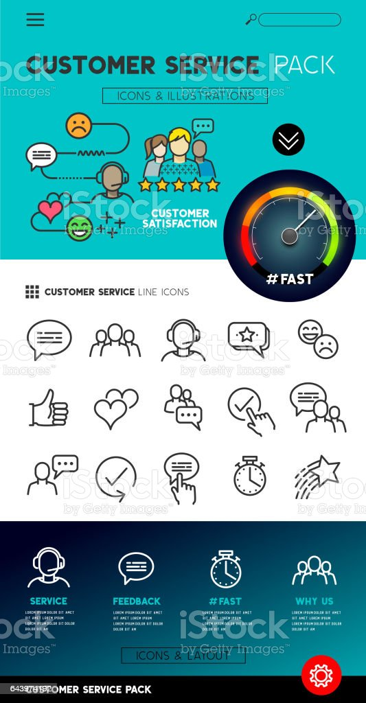 Customer Sevice Design and Icons vector art illustration