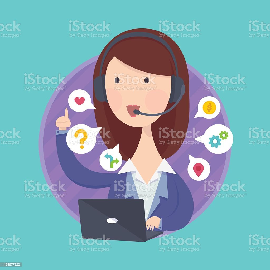 Customer support help desk woman operator service. vector art illustration