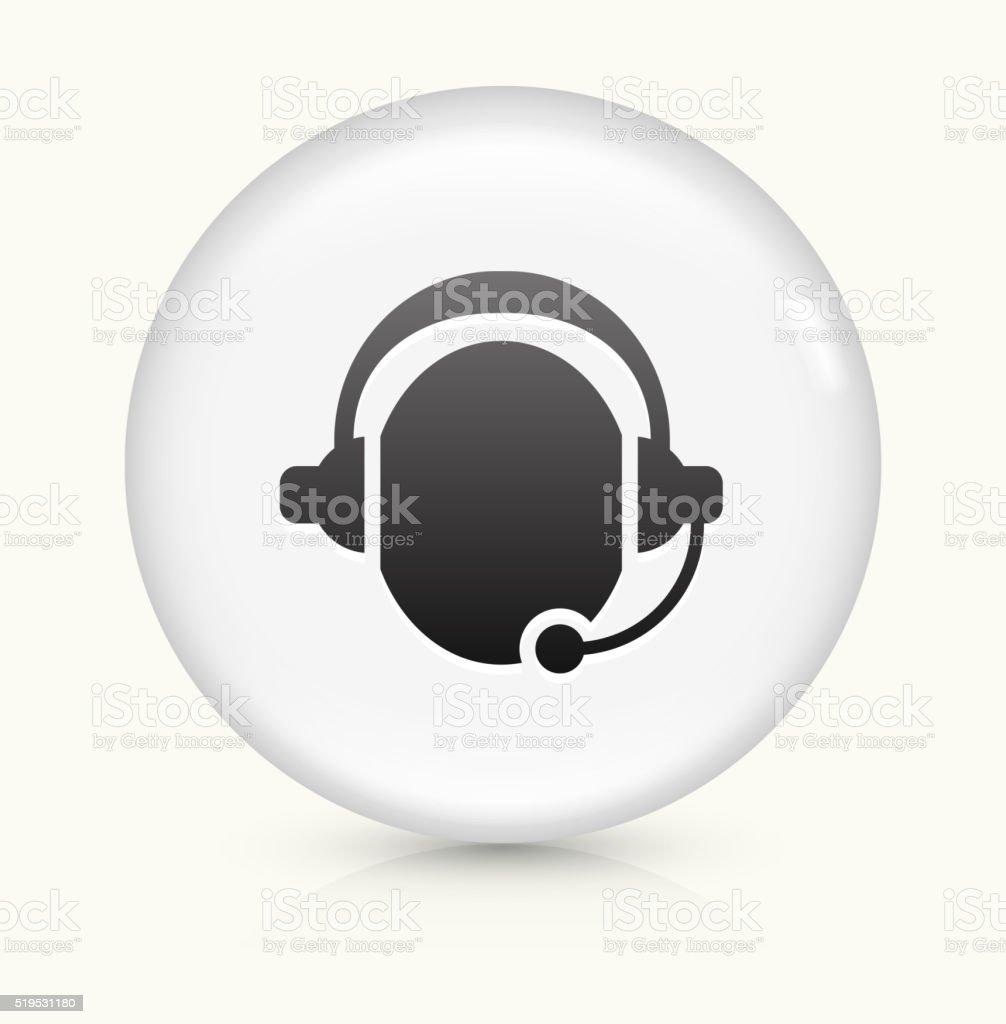 Customer Support icon on white round vector button vector art illustration