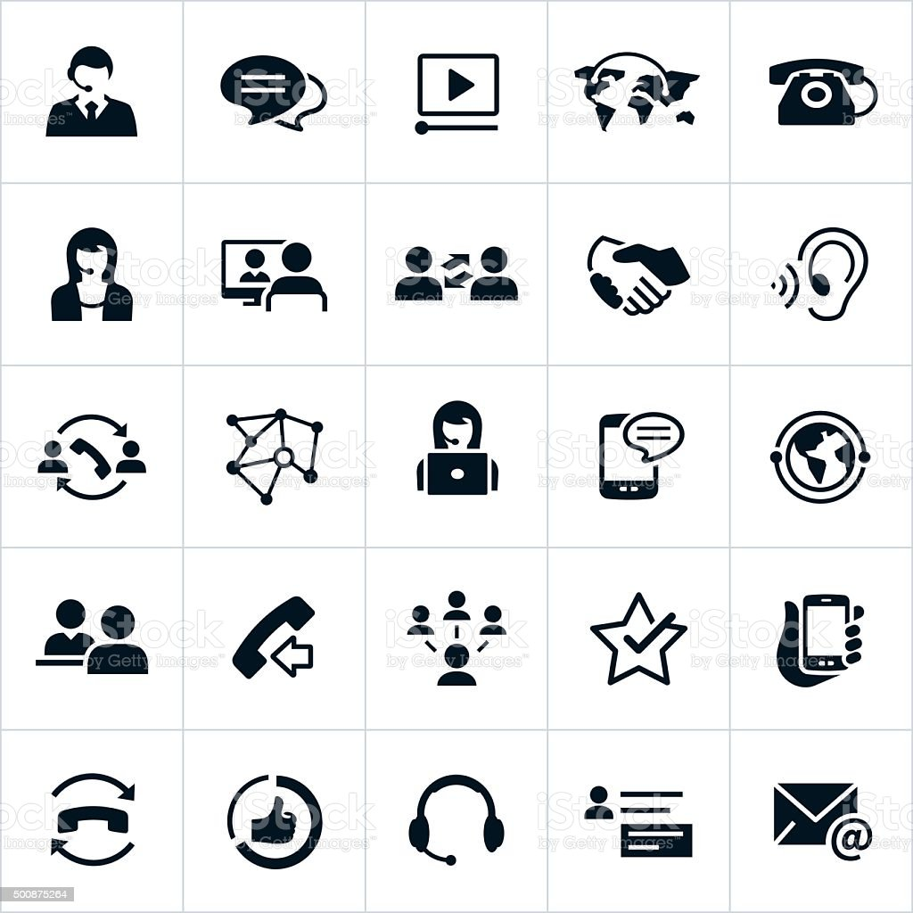 Customer Support Icons vector art illustration