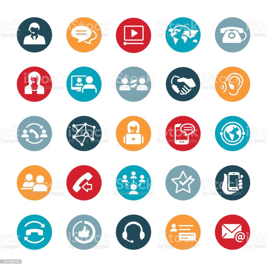 Customer Support Icons vector art illustration