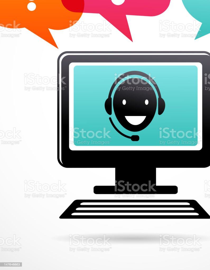 customer support with headphones royalty-free stock vector art