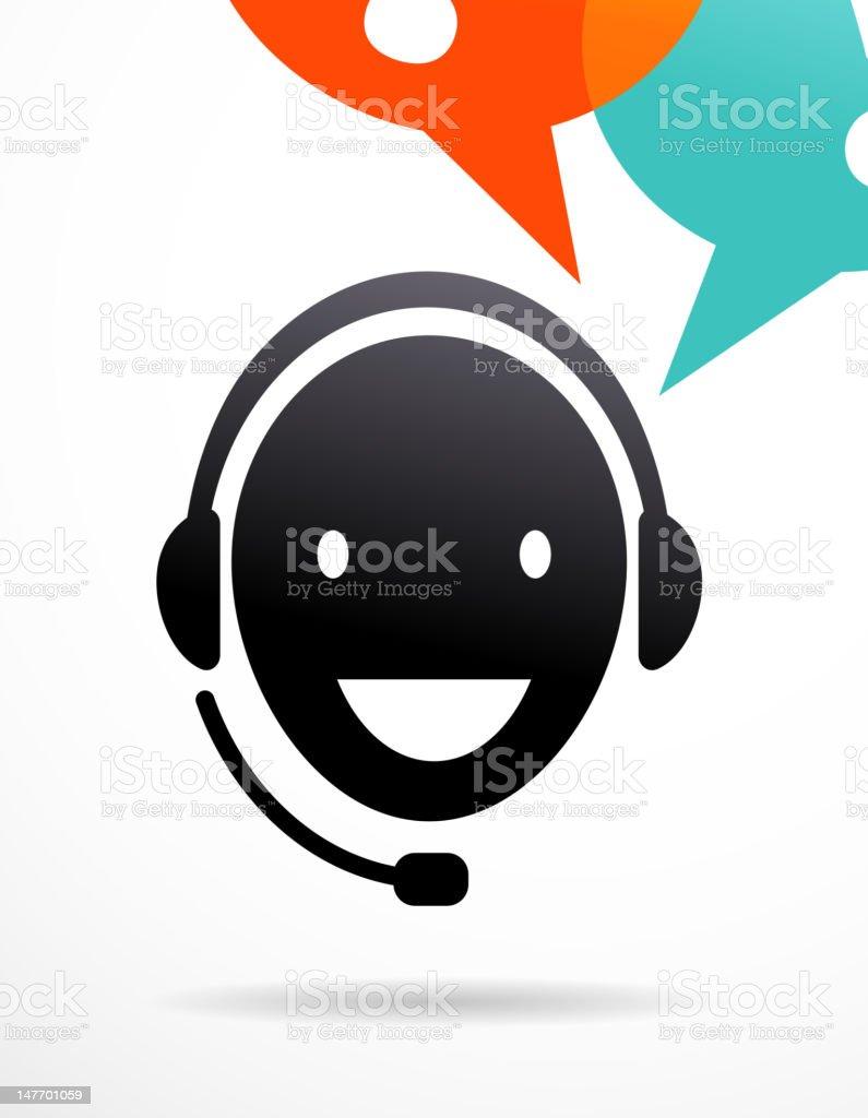 customer support with headphones vector art illustration
