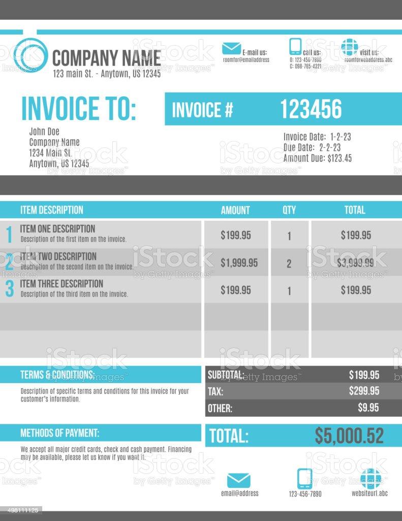 Customizable Invoice template design vector art illustration
